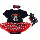 Newborn Cotton Baby Romper Casual Long Sleeve Baby Clothing Headbands Dress Shoes 3 pieces a set Mickey Minnie Rose Jumpers suit