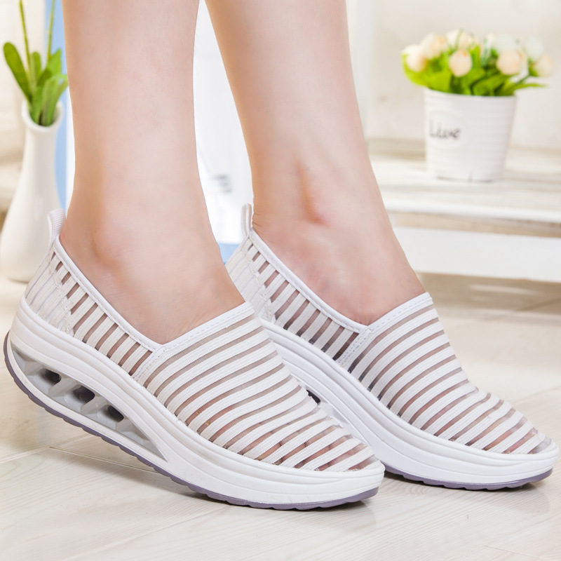 2018 Wedges Sneakers For Women Casual Shoes Summer Breathable Mesh Sneakers White Platform Shoes Woman Ladies Shoes Swing