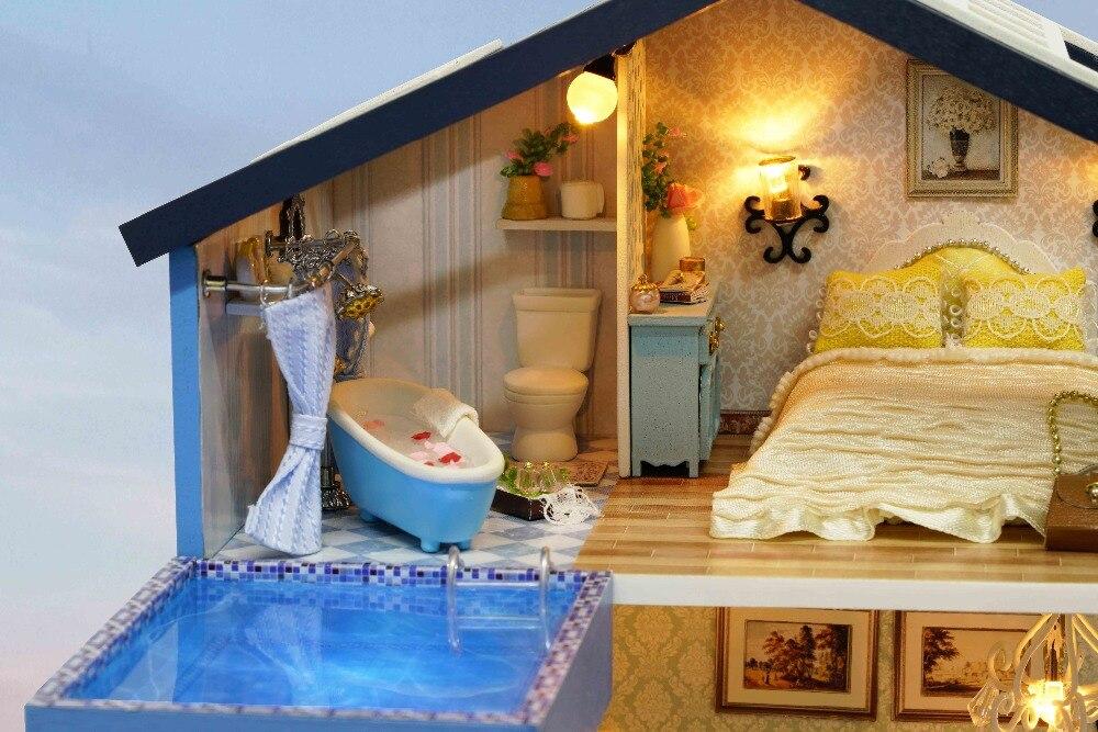 DIY Holz Handwerk Puppe Haus 3D Modell Kit Miniaturen Puppenhaus ...