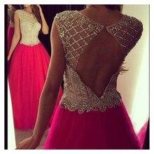 Schnelles Verschiffen 2016 Elegante Hohlkreuz Rose Red Abendkleid Mit Perlen Kristall Lange Abendkleid Benutzerdefinierte Homecoming Kleider