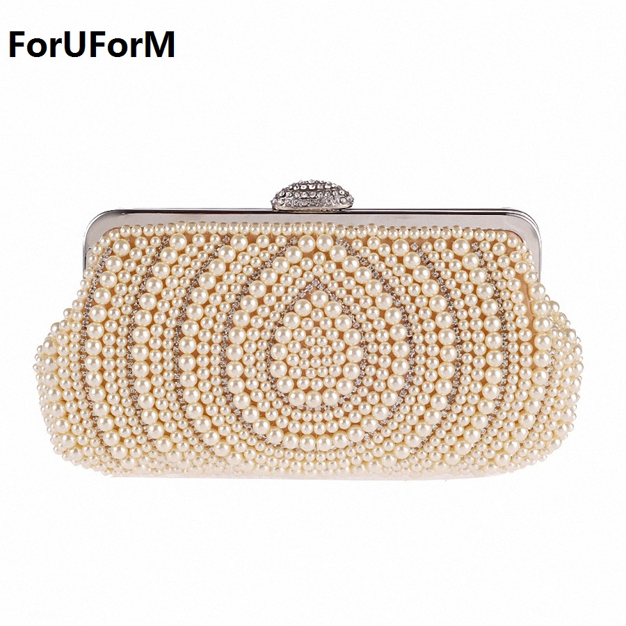 Beaded Women Evening Bags Diamonds party Day Clutches Small Purse Day Clutches Handbags female Pearl Wedding Bags LI-1808 стоимость