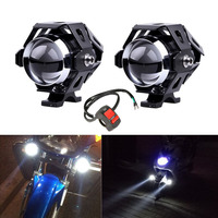 2PCS Motorcycle LED Headlight 10W 2400LM U5 Waterproof Driving Spot Head Lamp Fog Light Switch Moto