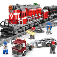 City Power Driven Diesel Train Track Rail Building Blocks Sets Kits Bricks Kids Classic Model Toys City Series model Train