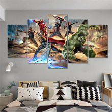 Pintura da lona Cartaz Moive 5 Pcs Marvel Avengers Capitão América Thor Hulk Arte Da Parede Modular Pictures For Living Room Decor(China)