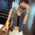 Fashion Hoodied Rivet Denim Vest Woman Fashion Cool Hole Denim Waistcoat Female Slim Body All Match Denim Clothing S-XXL