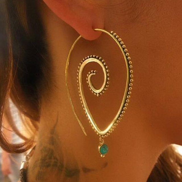 Naomy&ZP Bohemian Round Spiral Drop Earrings Big Ethnic Gold Silver Color Punk Whirlpool Gear Earrings for Women Fashion Jewelry 3