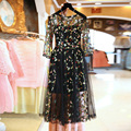 Mujeres bordado dress 2016 nueva summer flower largo party dress elegante magnífico de lujo dress linda manera de las señoras vestidos