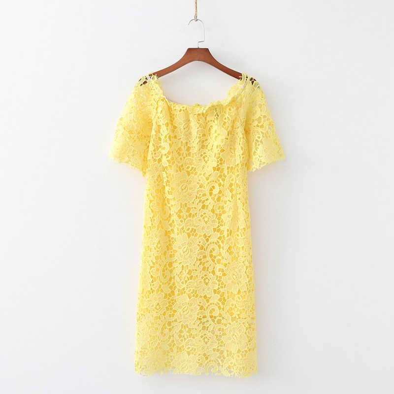 Sommer kleid 2019 casual spitze kleid frauen kurze kurze lange kleid off schulter kleid hohl frauen kleidung