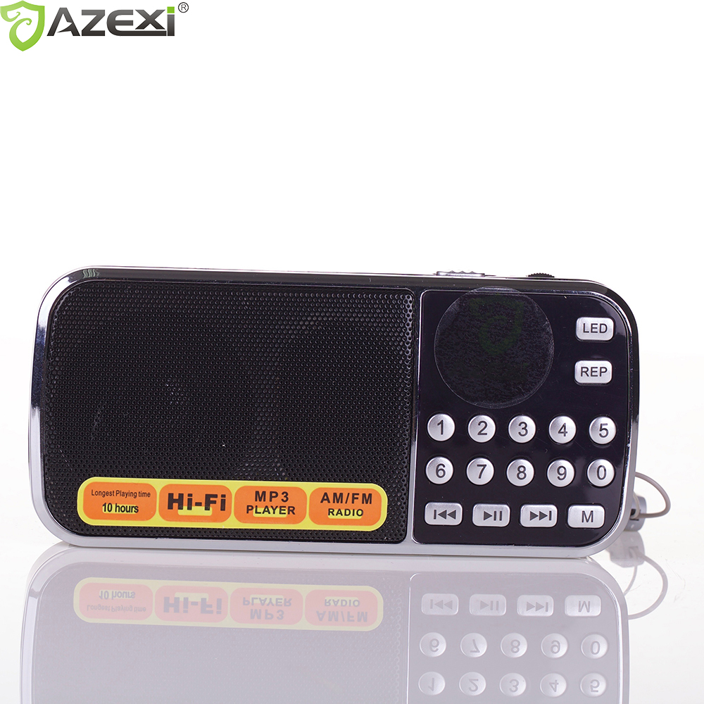 L-088AM Radio FM Portable Digital Radio Stereo Mini Speaker Music Player with TF Card USB AUX Input Sound Box Black Red Blue