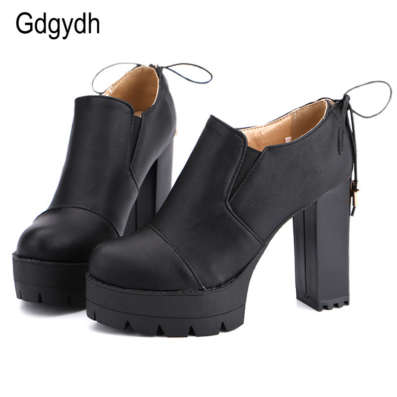 Gdgydh 2017 New Drop Shipping Women Shoes Pumps Round Toe Thick Heels Platform Female Single Shoes Black Lacing High Heels Shoes free shipping 18cm brand new top quality platform women pumps 7 inch thick with high heels women shoes pole dancing shoes us 12