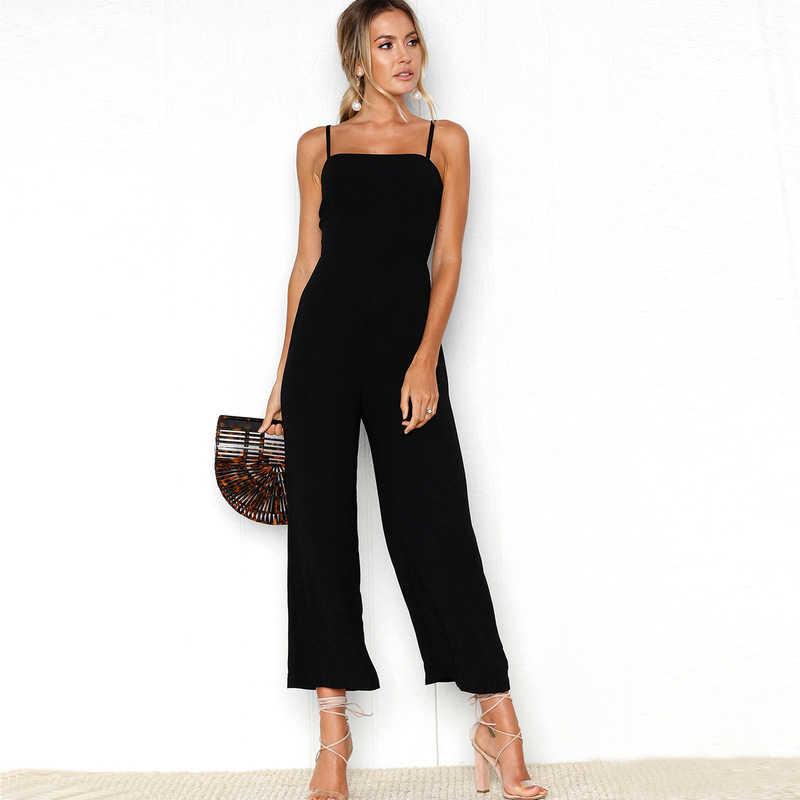 Najnowszy OL panie kombinezony kobiety stałe Clubwear Playsuit body Party ogólnie rzecz biorąc Sexy Romper długie spodnie bez rękawów szerokie spodnie