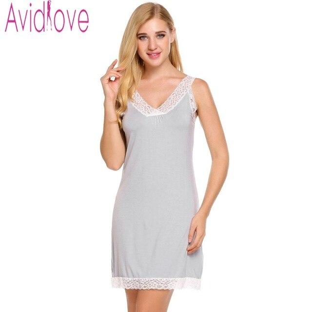 Avidlove Mulheres Camisolas De Algodão Noite Vestido de roupa de Dormir de  Renda Sexy Com Decote b25be292e