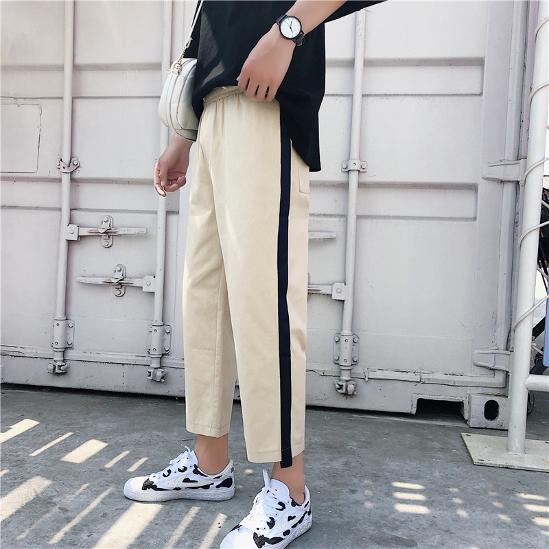 2018 Summer New Pattern Style Side Directly Nine Part Leisure Time Pants Tide Male black and khaki Favourite Free shipping