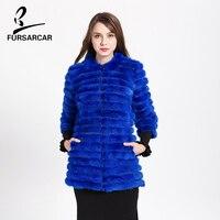 FURSARCAR Mink Fur Coat Mink Fur Coats For Cold Winter Color Beautiful Sapphire Blue Women's Medium Thick Mink Fur Coat BF H0015