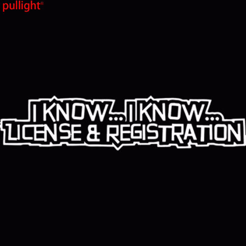 Details about I Know I Know License and Registration Funny Cops Car Decal / Sticker