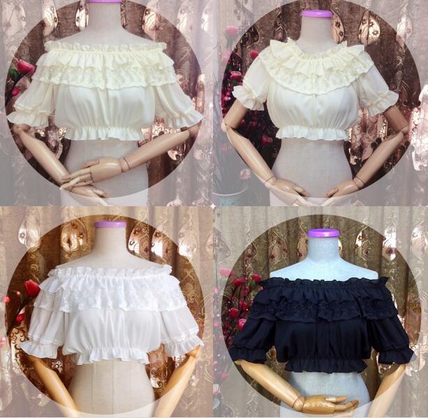 Women Lolita shoulderless Chiffon Crop Top Blouse White/Black Puff Sleeve Lace Bottoming Shirt