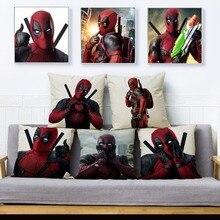 Funda de almohada con estampado de villano Hero Deadpool 45*45 cm funda de cojín de lino de algodón fundas de cojín