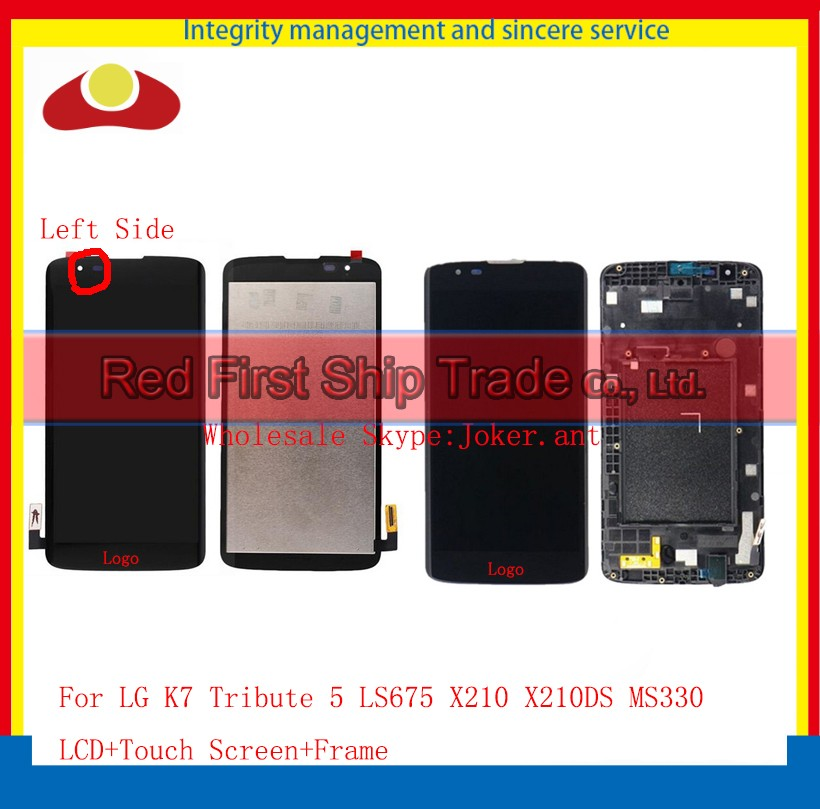10Pcs/lot DHL EMS For LG K7 Tribute 5 LS675 X210 X210DS MS330 Full Lcd Display Touch Screen Digitizer Assembly Complete+Frame 20pcs lot dhl ems for lg k series k5