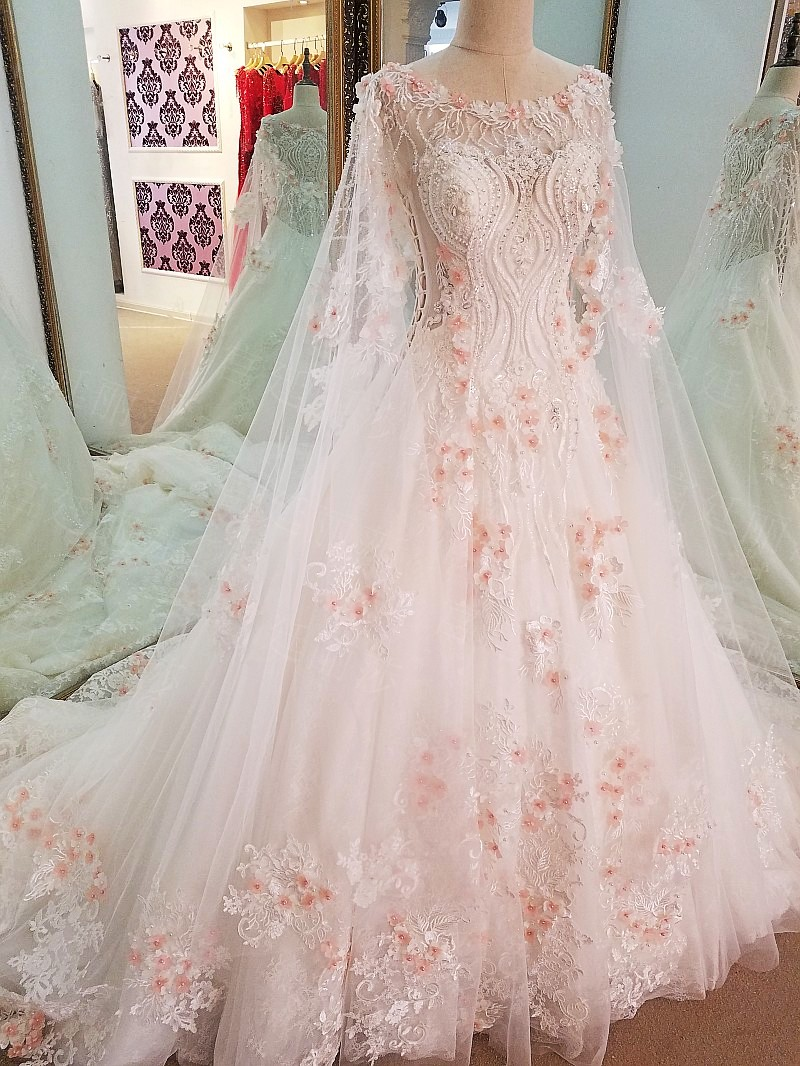 Ls69447 Extravagant Wedding Gowns Beaded Crystal Back See Through Ball Gown Bridal Dresses Ivory With Pink Flowers Real Photos Gowns Bridal Extravagant Wedding Gownsbridal Dress Aliexpress