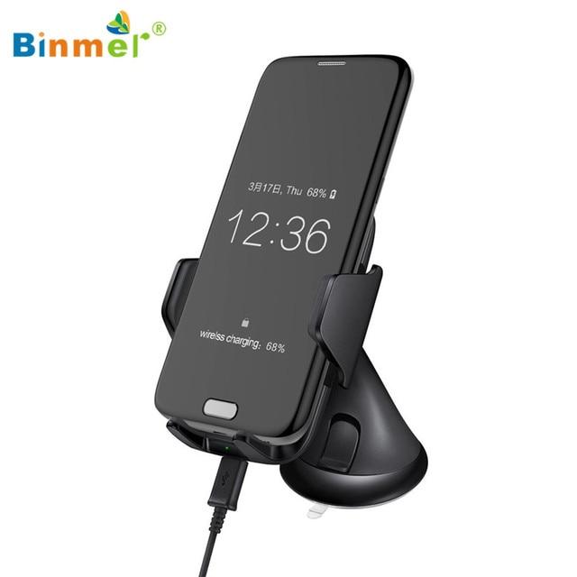 Горячие продажи BINMER Ци Беспроводной Телефон Автомобильное Зарядное Устройство Зарядки Автомобильный Держатель Стенд Pad Для Samsung Galaxy S7 Note 5 Подарки