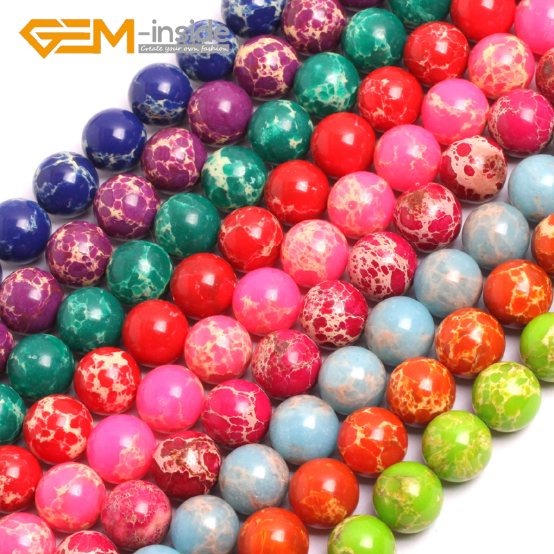 Gem-inside 12mm Sea Sediment Jaspe r Beads DIY Beads For Jewelry Making Strand 15 Inches DIY ! Wholesale!! Hot Fashion Gift Girl
