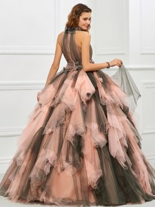 Image 3 - 빈티지 핑크와 블랙 두 톤 1950 s 컬러 웨딩 드레스와 컬러 프릴 tulle 볼 가운 고딕 웨딩 드레스