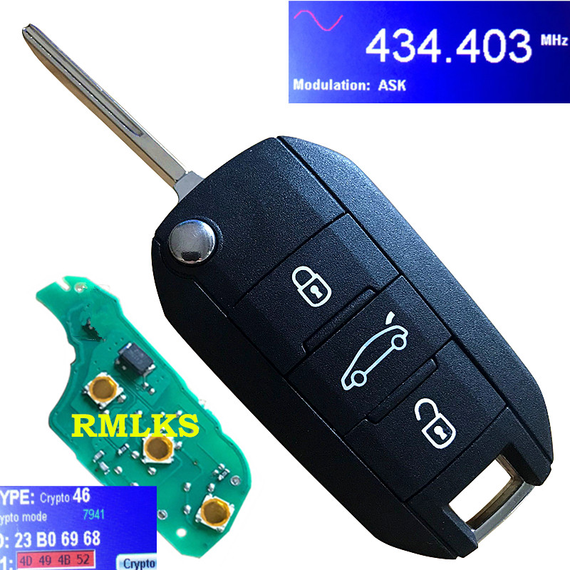 New Flip <font><b>key</b></font> Remote Car <font><b>Key</b></font> Fob 3 Button 433MHz ID46 for <font><b>Peugeot</b></font> 208 2008 301 308 3008 408 <font><b>4008</b></font> 508 5008 Hella HU83 or VA2 Blade image