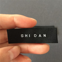 Customized 50D High Density 1.6*5.2cm End Fold Clothing Woven Labels Ultrasonic Cutting Edge