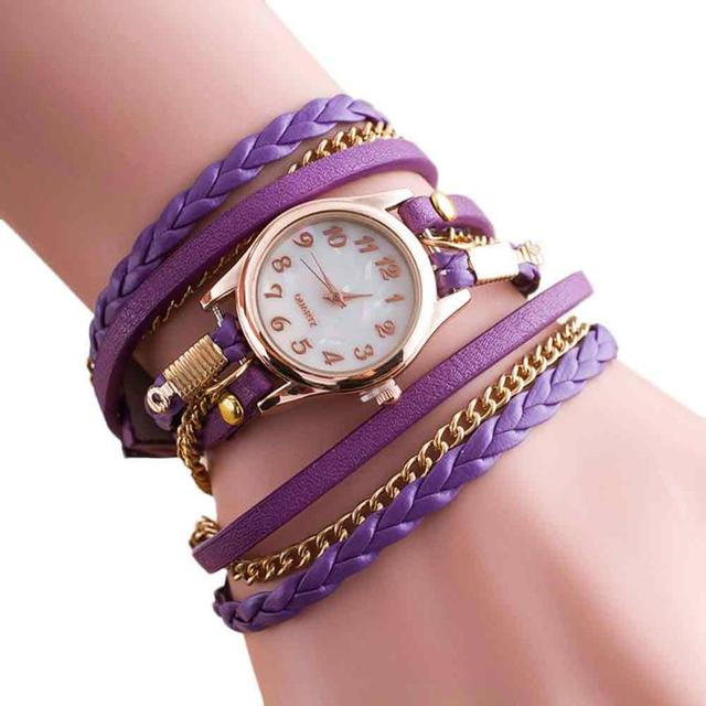 #5001 High Quality Woman Watch New Fashion Wrap Around Bracelet Watch Synthetic