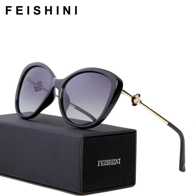 FEISHINI 58900 Haute Qualité Vintage oculos de sol feminino Mode HD Clair  Ovale Dames Rose Lunettes da29cd4654f1