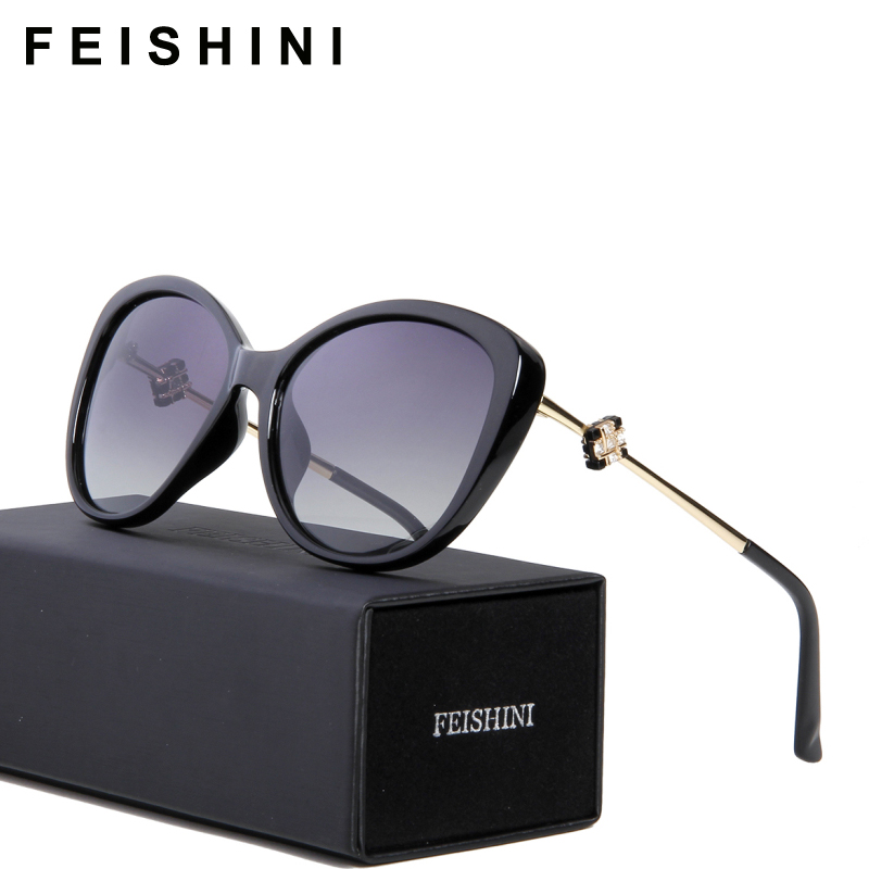 FEISHINI 58900 Fashion Tinggi oculos de sol feminino Vintage Fashion Clear Oval Ladies Pink Sunglasses Wanita Terpolarisasi Jenama 2020