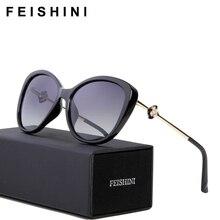 FEISHINI 58900 High Grade Vintage oculos de sol feminino Fashion HD Clear Oval Ladies Pink Sunglasses Women Polarized Brand 2018