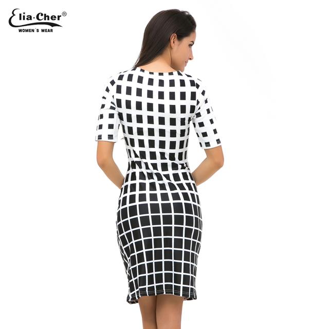 Half Sleeve Black White Dress