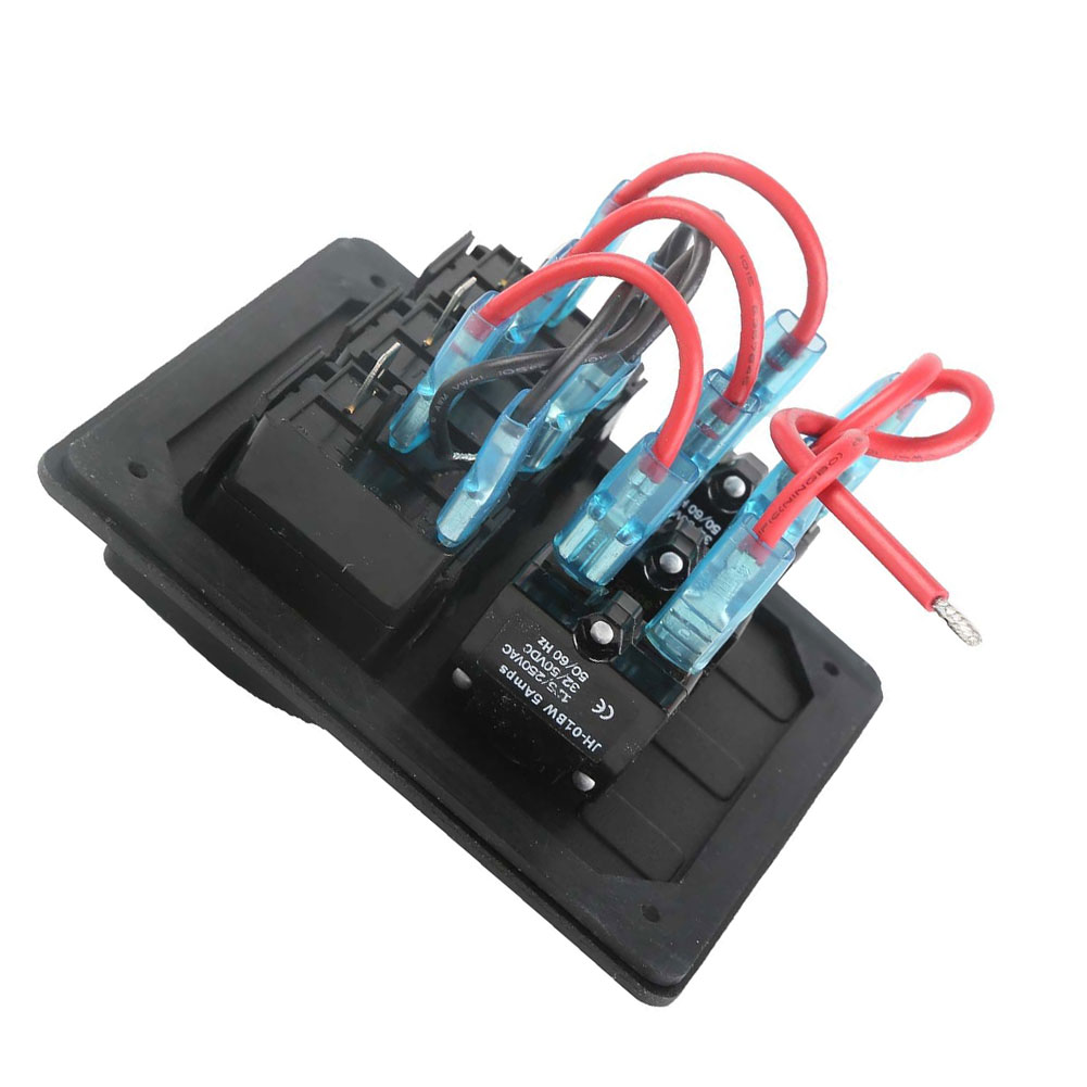 12V/24V Switch Panel Breaker 3 Gang Car Marine Waterproof Aluminum Boat Rocker Car Styling