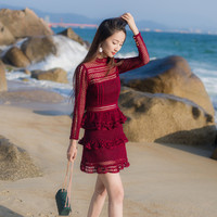 2019 Spring Fashion Women Hollow Out Ruffled Lace Dress Long Sleeve Burgundy Party Dress Vestidos Short Holiday Beach Cake Dress