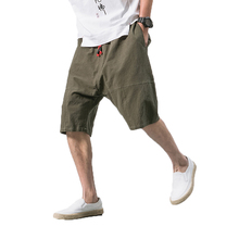 Мужские брюки в китайском стиле, широкие льняные шаровары, свободные большие укороченные брюки, широкие шаровары