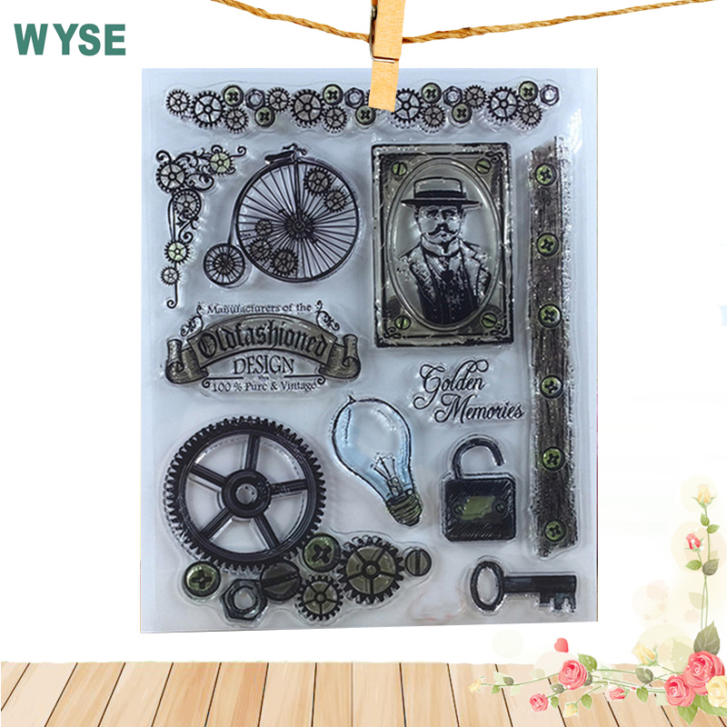 14*18cm vintage Memory Inventor Edison Bulb wheel  Tranparent Clear stamps/seal  DIY Science Scrapbooking card make Decor tools