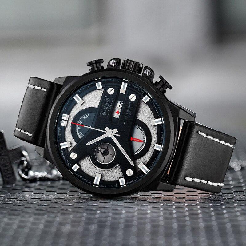 6 11 Luxury Mens 2019 New Six Pin Stopwatch Multifunctional Luminous Waterproof Quartz Watch Men Sport Watch relogio masculino in Quartz Watches from Watches