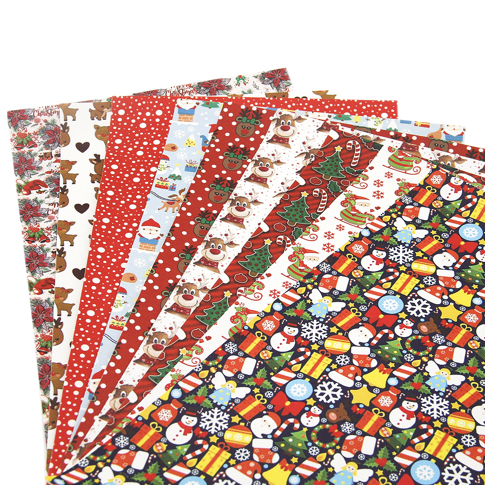 David Accessories 20*34cm Christmas Santa Faux Artificial Synthetic Leather DIY Sewing Fabric For Garment Knotbow Bags,1Yc4848