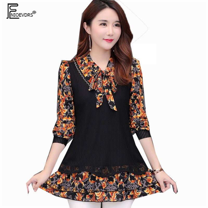Winter Basic Shirts Blouses Women Tunic Velvet Tops Lady Patchwork Faux Two  Piece Floral Bow Tie 9f3da6545f62
