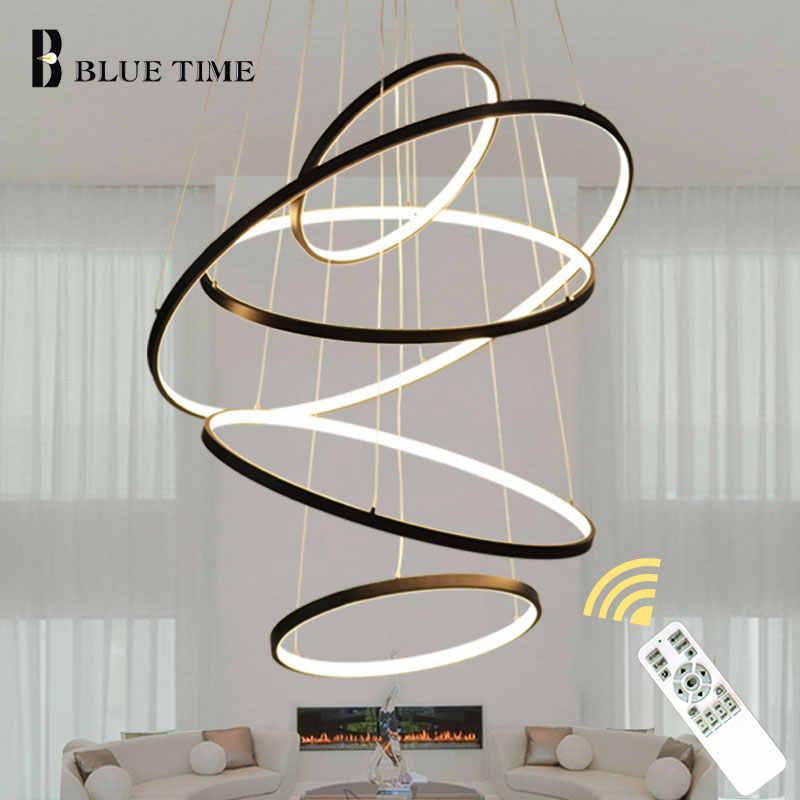 Altın ve siyah & beyaz daire Modern LED kolye işık ev oturma odası yemek odası armatürleri LED avize lamba asılı lambaları