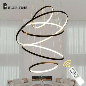 Image 3 - זהב & שחור & לבן מעגל מודרני LED תליון אור בית סלון חדר אוכל חדר מנורות LED תקרת תליון מנורה תליית מנורות