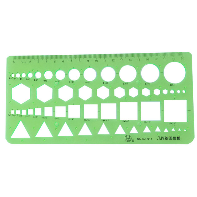 20 pcs Geometry Drawing Template Ruler 22 * 10.5cm Green Plastic Student Lab Stationery Measuring Tool Ruler School Supplies