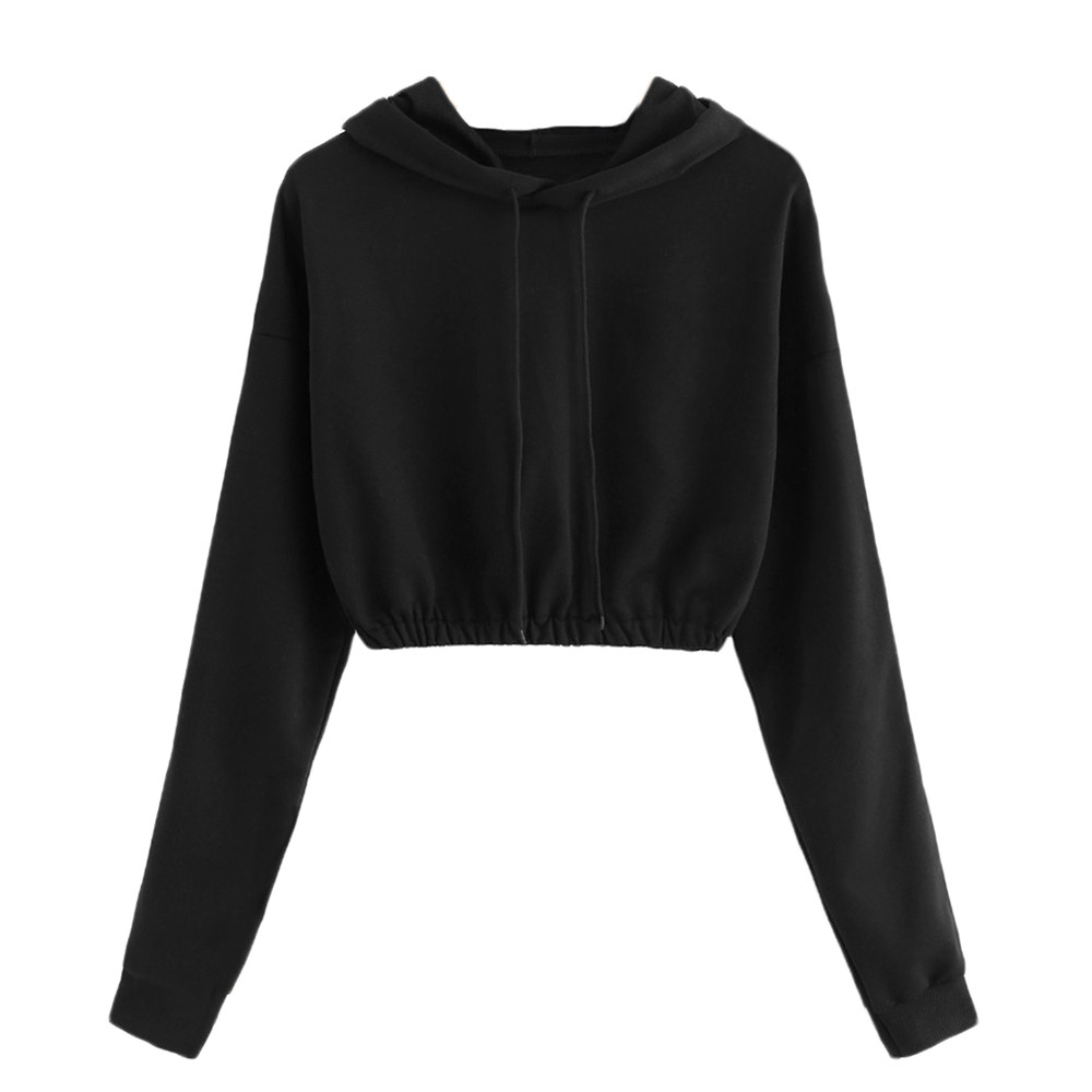 Fall 2018 sweatshirt for women solid Long Sleeve Hooded Round Neck ulzzang harajuku pullover hoody sweatshirt for girls sukienka odkryte ramiona
