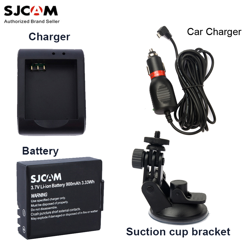 SJCAM 3.7V Li-ion Battery +Battery Charger+Car Charger+Suction Cup for SJCAM Sj5000 / Sj4000 / M10 Series Sports Action Camera