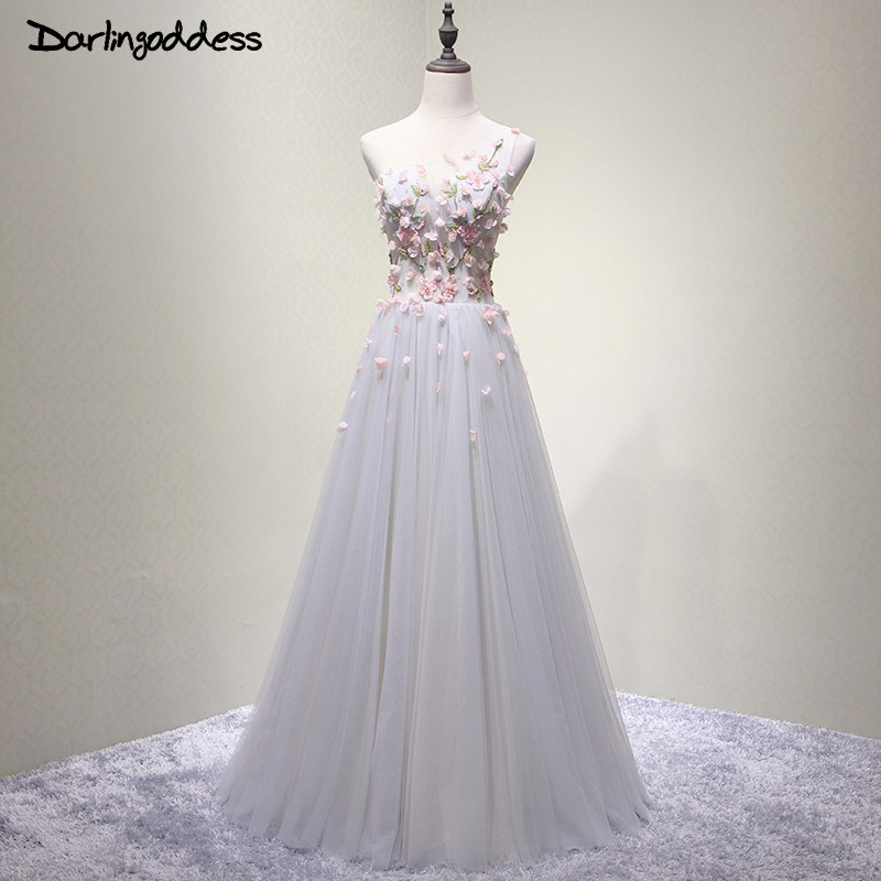 Elegant Gray 3D Flowers Beading Sexy Long Evening Dresses A Line One  Shoulder Floor-length 11e7358ca4fc