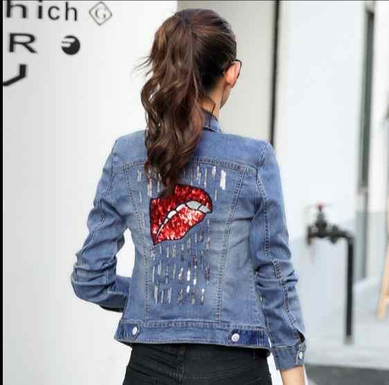 2019 джинсовая куртка Женская мода вышитые джинсы оверсайз куртки губы пальто с блестками JR79