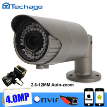 Techage H265 ONVIF 2592*1520 4.0MP Cámara CCTV Varifocal Lente 2.8-12mm Zoom Impermeable P2P IPC Hogar Cámara de Vigilancia de seguridad
