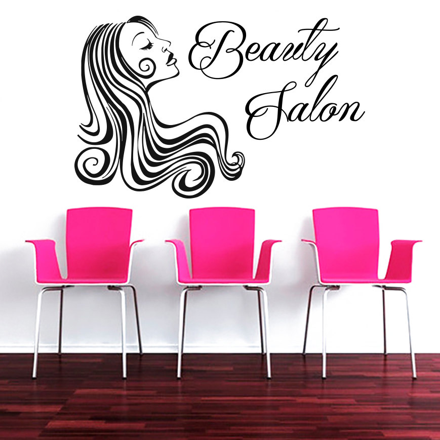 Fashion Beauty Salon Sign Wall Decal Modern Makeup Woman