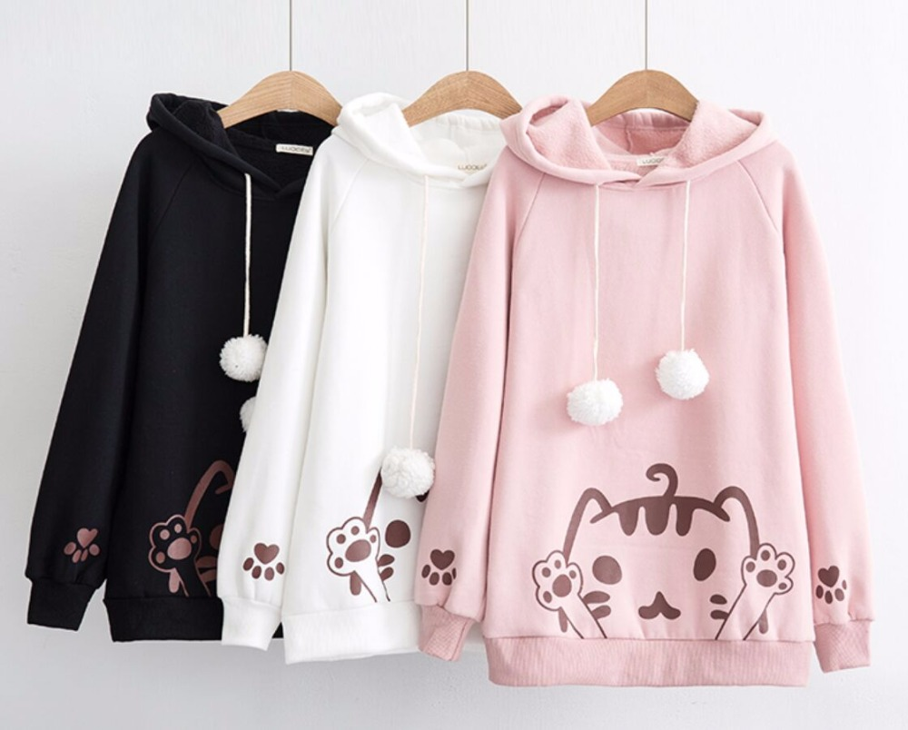 Japanese Soft Sister Warm Sweet And Lovely Cat Long Sleeved Hooded Hoodie Winter Solid Color Loose